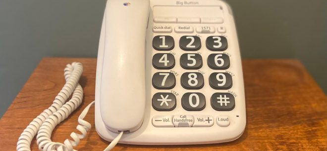 Close-up of a big button telephone.