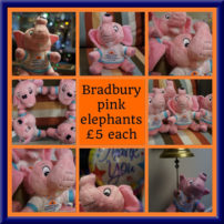 http://A%20colour%20poster%20advertising%20Bradbury%20pink%20elephants%20£5%20each%20with%20eight%20photographs%20of%20brad%20in%20various%20poses.